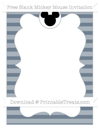 Free Slate Grey Horizontal Striped Blank Mickey Mouse Invitation