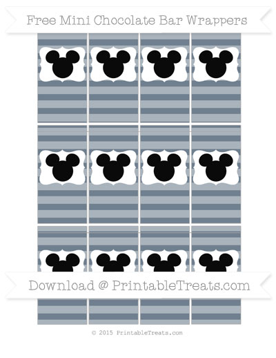 Free Slate Grey Horizontal Striped Mickey Mouse Mini Chocolate Bar Wrappers