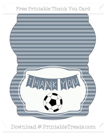 Free Slate Grey Horizontal Striped Soccer Thank You Card