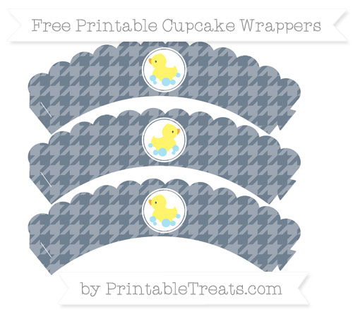 Free Slate Grey Houndstooth Pattern Baby Duck Scalloped Cupcake Wrappers