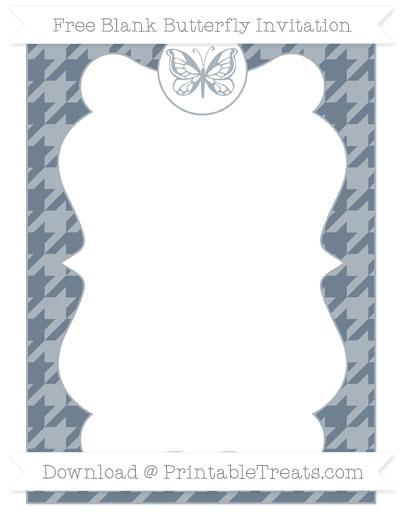 Free Slate Grey Houndstooth Pattern Blank Butterfly Invitation