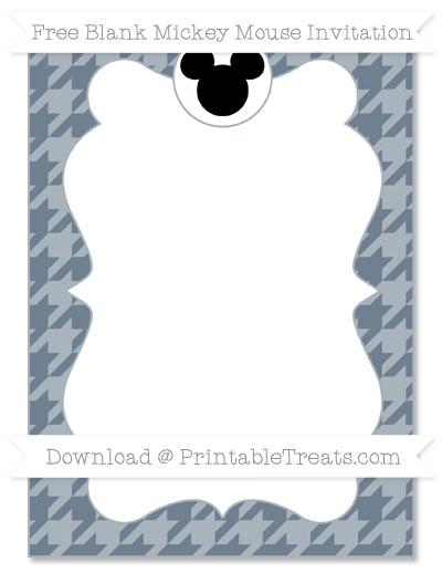 Free Slate Grey Houndstooth Pattern Blank Mickey Mouse Invitation