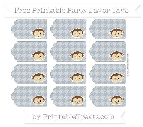 Free Slate Grey Houndstooth Pattern Boy Monkey Party Favor Tags