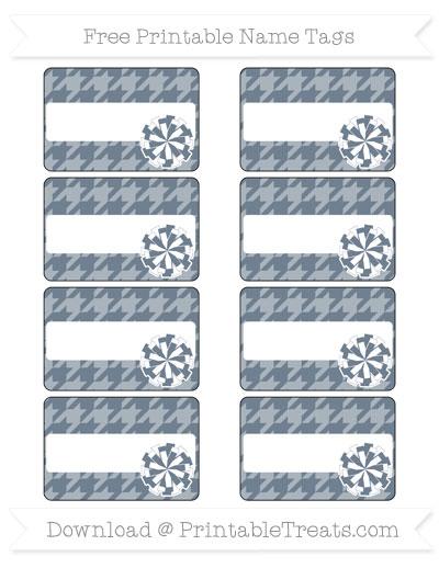 Free Slate Grey Houndstooth Pattern Cheer Pom Pom Tags
