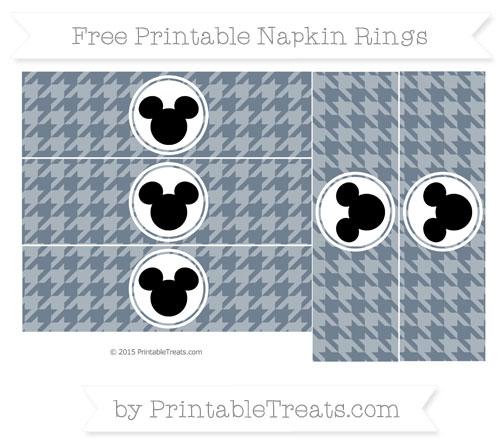Free Slate Grey Herringbone Pattern Mickey Mouse Napkin Rings