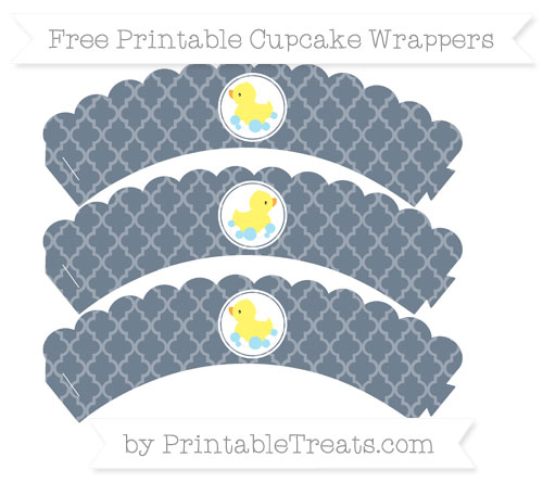 Free Slate Grey Moroccan Tile Baby Duck Scalloped Cupcake Wrappers