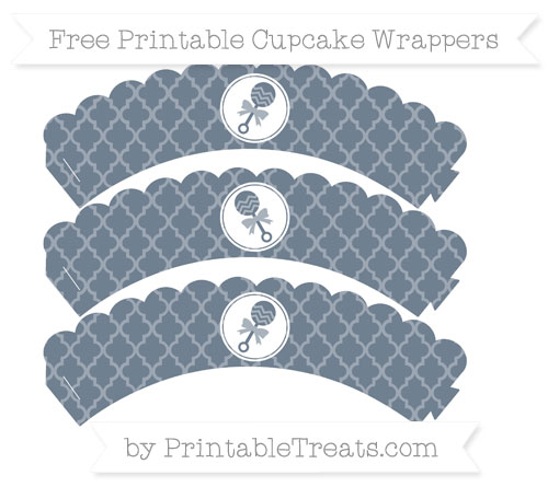 Free Slate Grey Moroccan Tile Baby Rattle Scalloped Cupcake Wrappers