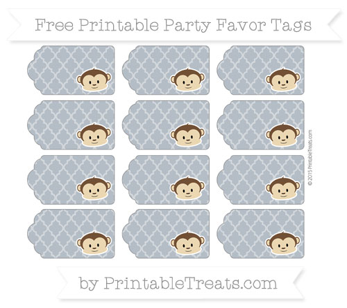 Free Slate Grey Moroccan Tile Boy Monkey Party Favor Tags