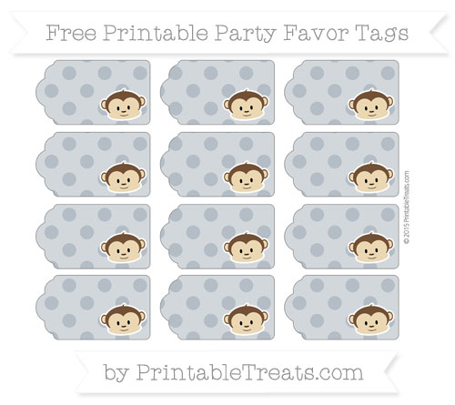 Free Slate Grey Polka Dot Boy Monkey Party Favor Tags