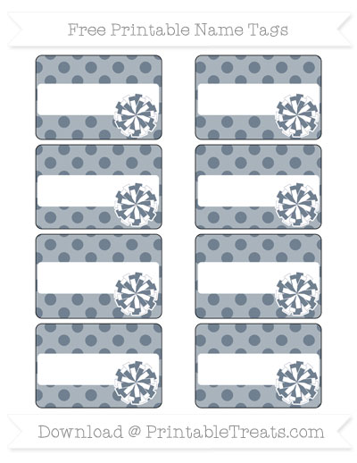 Free Slate Grey Polka Dot Cheer Pom Pom Tags