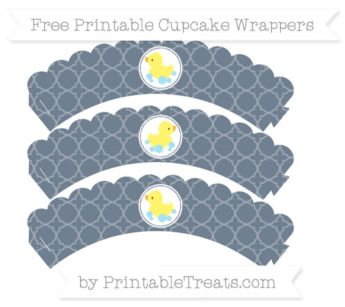 Free Slate Grey Quatrefoil Pattern Baby Duck Scalloped Cupcake Wrappers