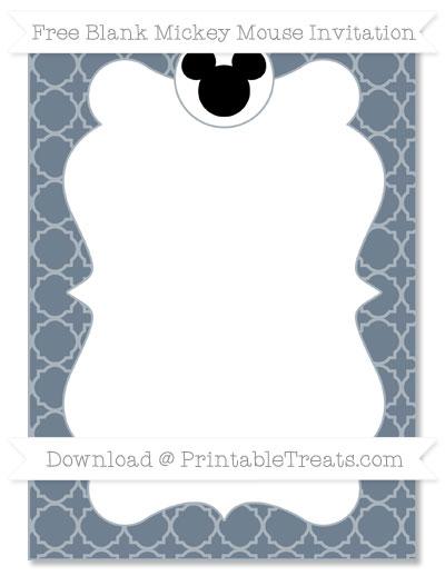 Free Slate Grey Quatrefoil Pattern Blank Mickey Mouse Invitation
