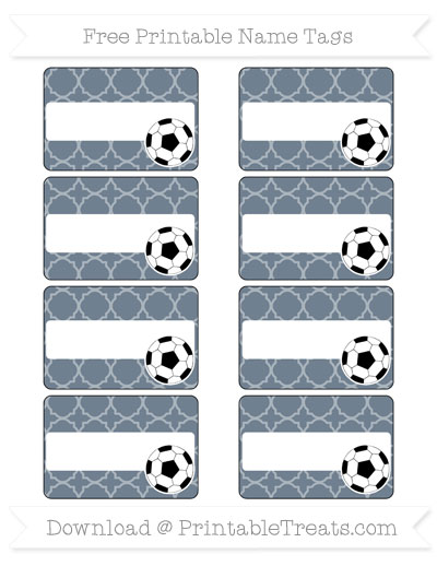 Free Slate Grey Quatrefoil Pattern Soccer Name Tags