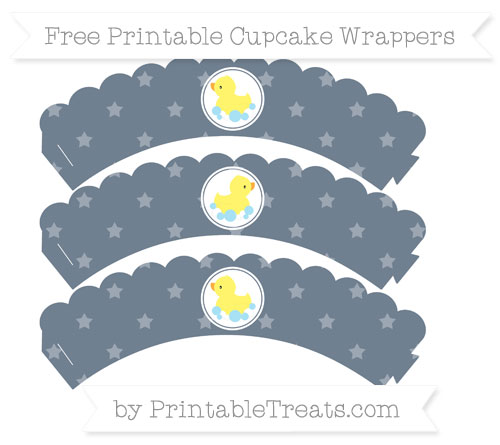 Free Slate Grey Star Pattern Baby Duck Scalloped Cupcake Wrappers
