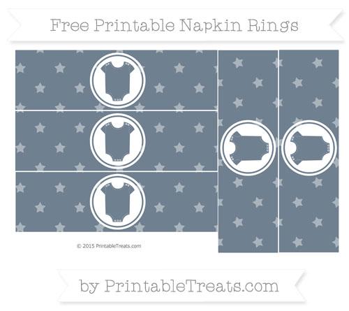 Free Slate Grey Star Pattern Baby Onesie Napkin Rings