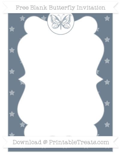 Free Slate Grey Star Pattern Blank Butterfly Invitation