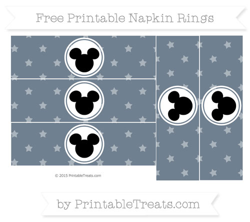 Free Slate Grey Star Pattern Mickey Mouse Napkin Rings