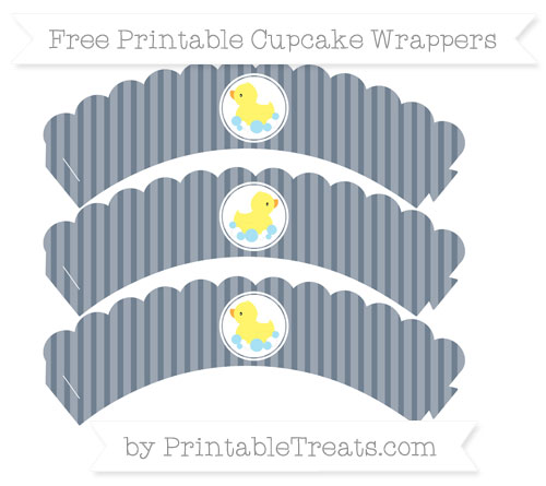 Free Slate Grey Thin Striped Pattern Baby Duck Scalloped Cupcake Wrappers