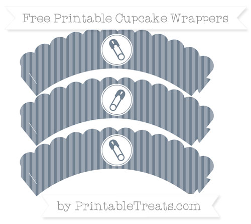 Free Slate Grey Thin Striped Pattern Diaper Pin Scalloped Cupcake Wrappers