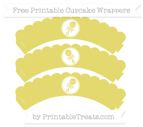 Free Straw Yellow Baby Rattle Scalloped Cupcake Wrappers