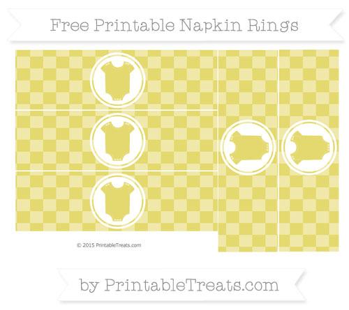 Free Straw Yellow Checker Pattern Baby Onesie Napkin Rings