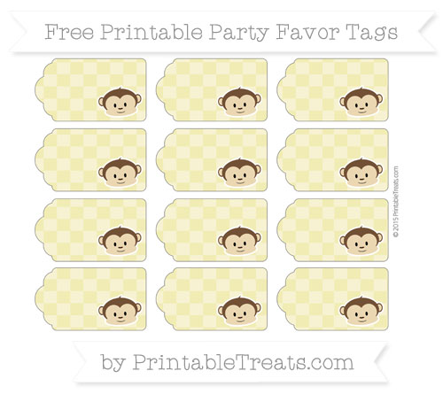 Free Straw Yellow Checker Pattern Boy Monkey Party Favor Tags