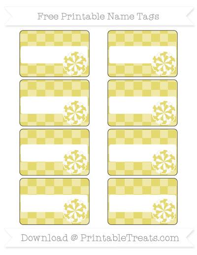 Free Straw Yellow Checker Pattern Cheer Pom Pom Tags