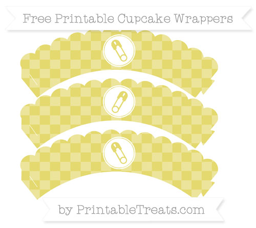 Free Straw Yellow Checker Pattern Diaper Pin Scalloped Cupcake Wrappers