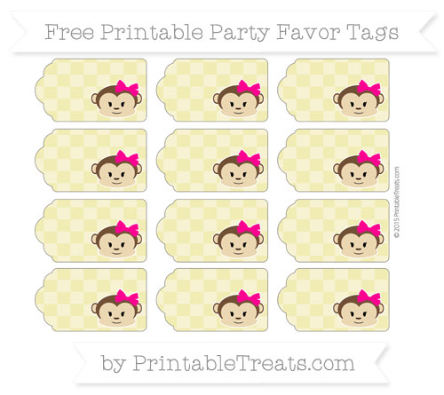 Free Straw Yellow Checker Pattern Girl Monkey Party Favor Tags