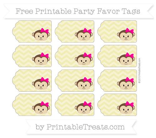 Free Straw Yellow Chevron Girl Monkey Party Favor Tags