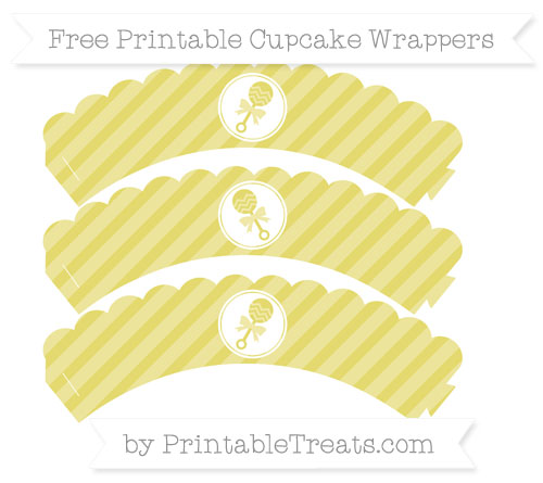 Free Straw Yellow Diagonal Striped Baby Rattle Scalloped Cupcake Wrappers