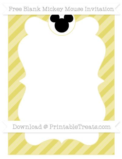 Free Straw Yellow Diagonal Striped Blank Mickey Mouse Invitation