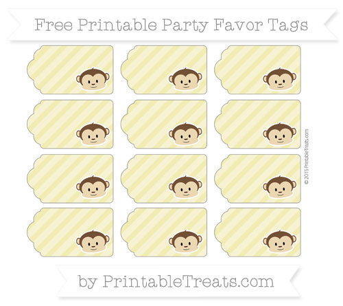 Free Straw Yellow Diagonal Striped Boy Monkey Party Favor Tags