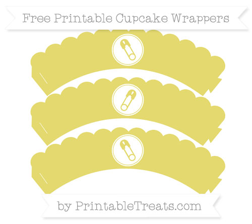 Free Straw Yellow Diaper Pin Scalloped Cupcake Wrappers