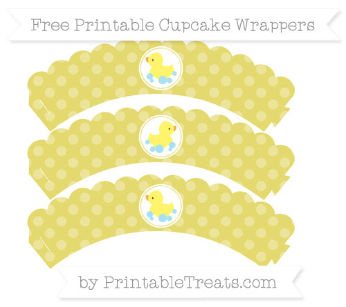 Free Straw Yellow Dotted Pattern Baby Duck Scalloped Cupcake Wrappers