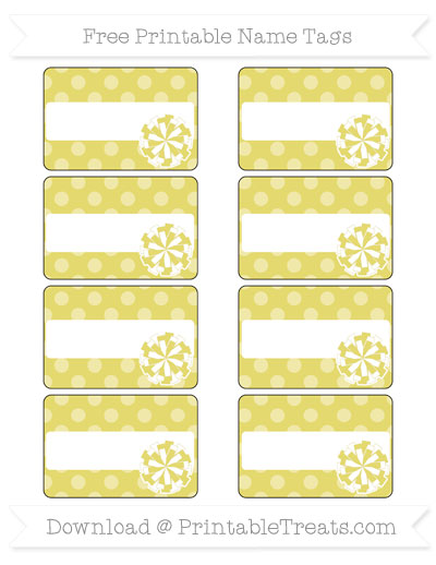 Free Straw Yellow Dotted Pattern Cheer Pom Pom Tags