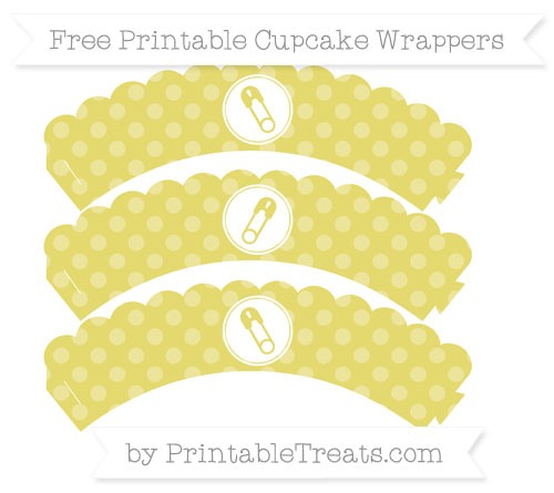 Free Straw Yellow Dotted Pattern Diaper Pin Scalloped Cupcake Wrappers