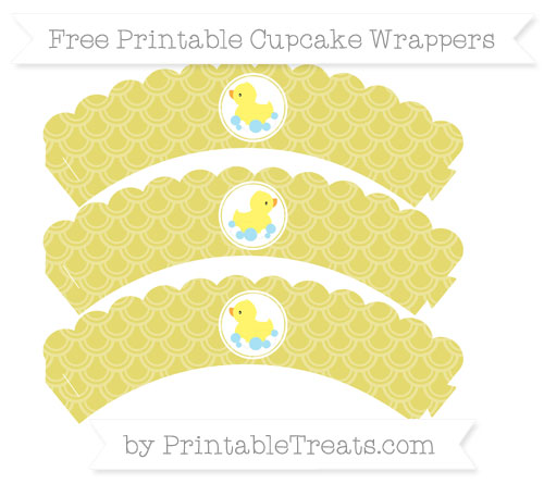 Free Straw Yellow Fish Scale Pattern Baby Duck Scalloped Cupcake Wrappers