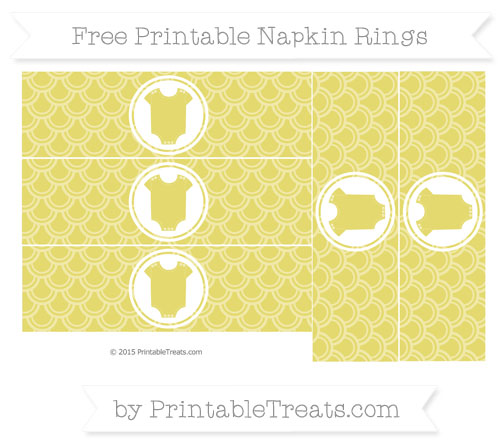 Free Straw Yellow Fish Scale Pattern Baby Onesie Napkin Rings
