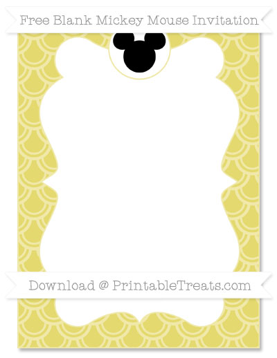Free Straw Yellow Fish Scale Pattern Blank Mickey Mouse Invitation