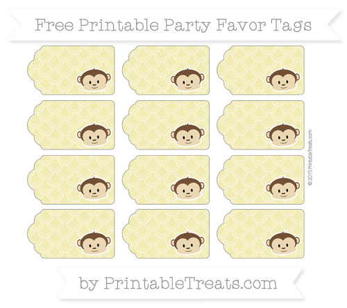 Free Straw Yellow Fish Scale Pattern Boy Monkey Party Favor Tags