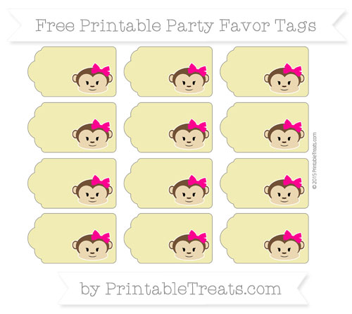 Free Straw Yellow Girl Monkey Party Favor Tags