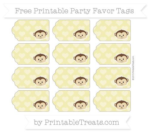 Free Straw Yellow Heart Pattern Boy Monkey Party Favor Tags