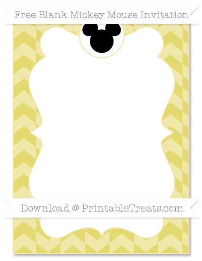 Free Straw Yellow Herringbone Pattern Blank Mickey Mouse Invitation