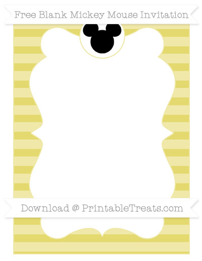 Free Straw Yellow Horizontal Striped Blank Mickey Mouse Invitation