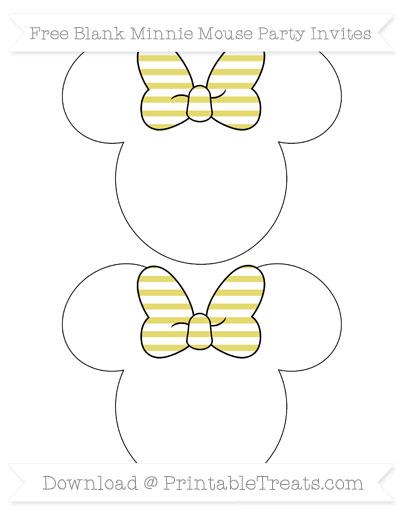 Free Straw Yellow Horizontal Striped Blank Minnie Mouse Party Invites