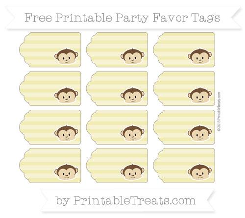 Free Straw Yellow Horizontal Striped Boy Monkey Party Favor Tags