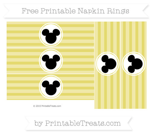 Free Straw Yellow Horizontal Striped Mickey Mouse Napkin Rings