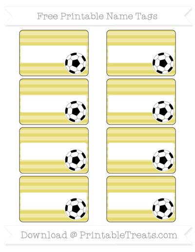 Free Straw Yellow Horizontal Striped Soccer Name Tags