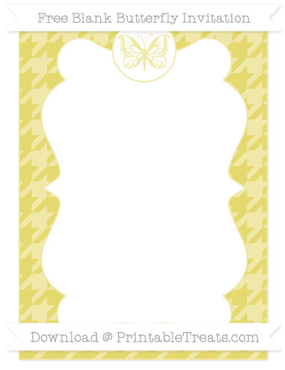 Free Straw Yellow Houndstooth Pattern Blank Butterfly Invitation